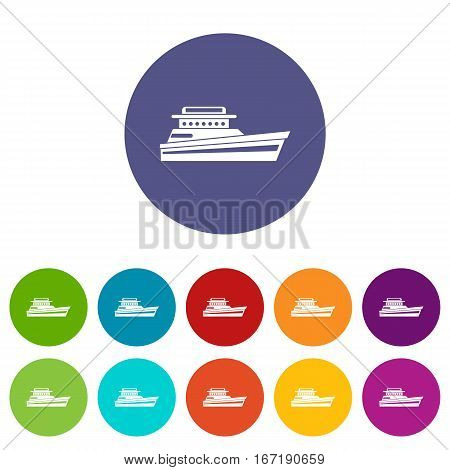 Great powerboat set icons in different colors isolated on white background