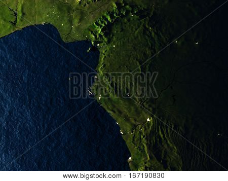 Gabon In Red From Space At Night