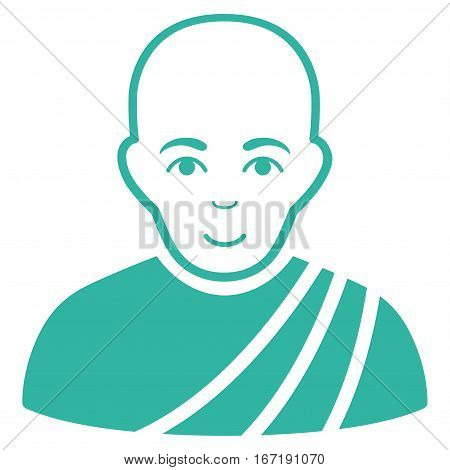 Buddhist Monk vector icon. Flat cyan symbol. Pictogram is isolated on a white background. Designed for web and software interfaces.