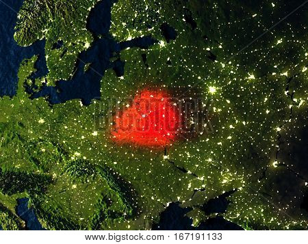 Belarus In Red From Space At Night