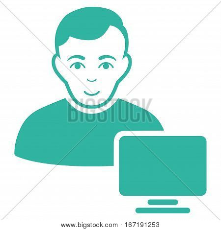 Computer Administrator vector icon. Flat cyan symbol. Pictogram is isolated on a white background. Designed for web and software interfaces.