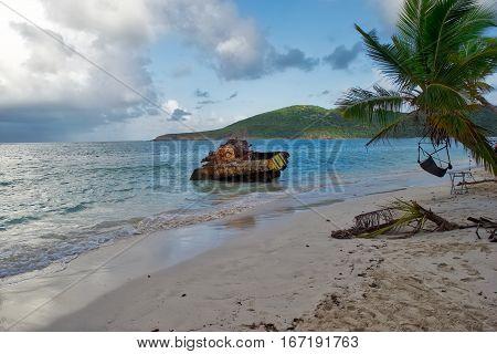Tank on beach in Culebra Island, Puerto Rico