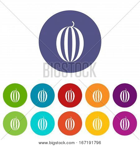Striped melon set icons in different colors isolated on white background