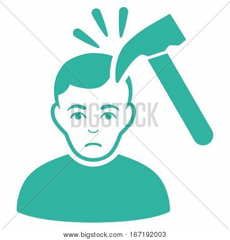 Murder With Hammer vector icon. Flat cyan symbol. Pictogram is isolated on a white background. Designed for web and software interfaces.