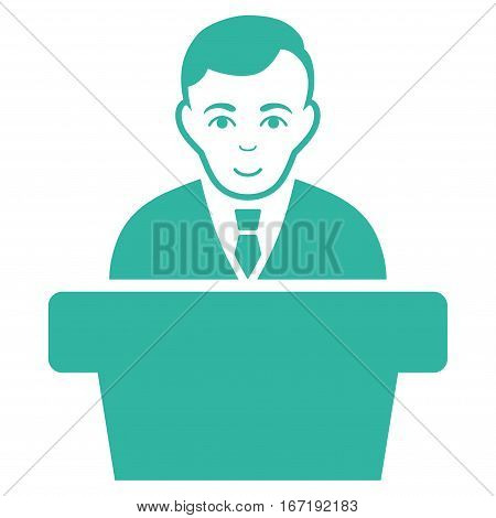 Politician vector icon. Flat cyan symbol. Pictogram is isolated on a white background. Designed for web and software interfaces.