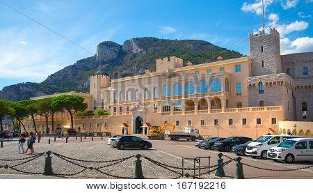 Monaco, Monte Carlo - September 16, 2016: Rock of Monaco, Wall the  Prince Monaco palace and lots of tourists