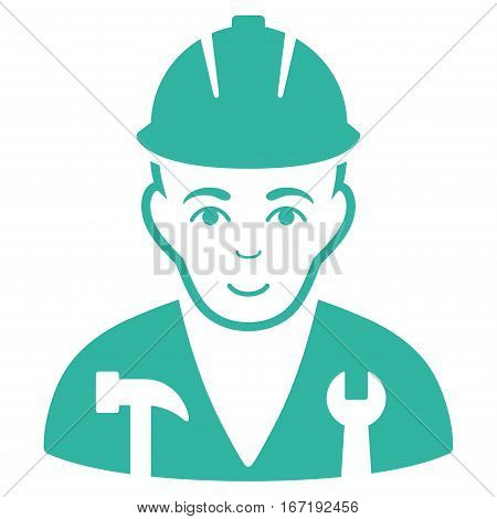 Serviceman vector icon. Flat cyan symbol. Pictogram is isolated on a white background. Designed for web and software interfaces.