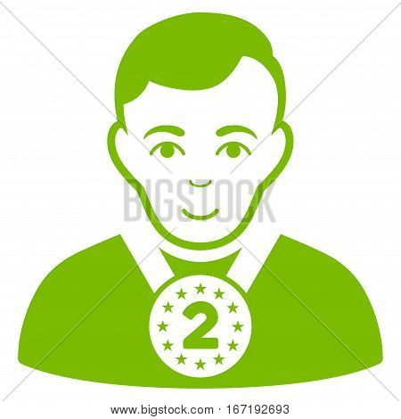 2nd Prizer Sportsman vector icon. Flat eco green symbol. Pictogram is isolated on a white background. Designed for web and software interfaces.