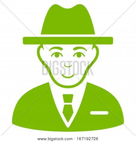 Agent vector icon. Flat eco green symbol. Pictogram is isolated on a white background. Designed for web and software interfaces.