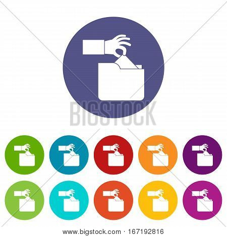 Robbery secret data in folder set icons in different colors isolated on white background