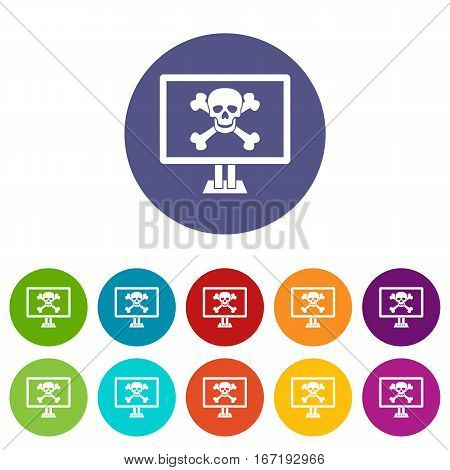 Computer monitor with a skull and bones set icons in different colors isolated on white background