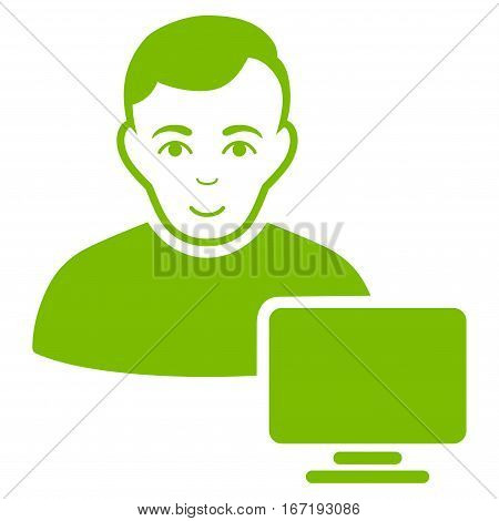 Computer Administrator vector icon. Flat eco green symbol. Pictogram is isolated on a white background. Designed for web and software interfaces.