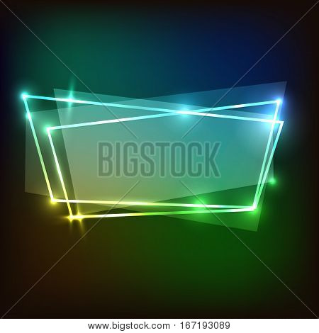 Abstract neon background with colorful banners, stock vector