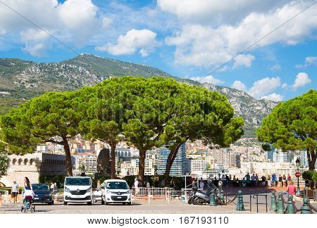 Monaco, Monte Carlo - September 16, 2016: Rock of Monaco,  Prince Monaco palace and palace square