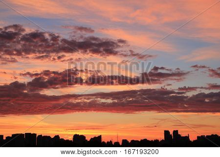 Sky and clouds at sunset as natural background
