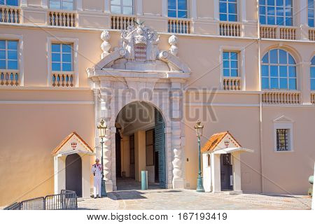 Monaco, Monte Carlo - September 16, 2016: Rock of Monaco, Palace of the Prince Monaco. Main entrance gate