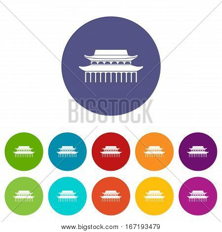 Buddha Toothe Relic Temple in Singapore set icons in different colors isolated on white background