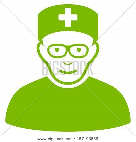 Medical Specialist vector icon. Flat eco green symbol. Pictogram is isolated on a white background. Designed for web and software interfaces.
