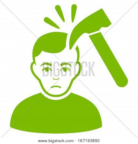 Murder With Hammer vector icon. Flat eco green symbol. Pictogram is isolated on a white background. Designed for web and software interfaces.