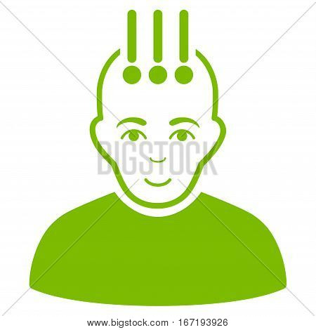 Neural Interface vector icon. Flat eco green symbol. Pictogram is isolated on a white background. Designed for web and software interfaces.