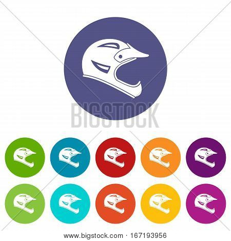 Bicycle helmet set icons in different colors isolated on white background