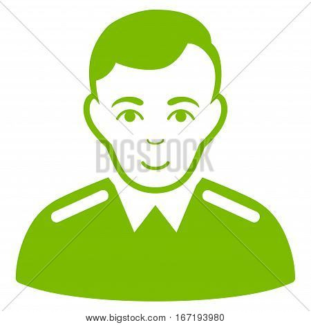 Officer vector icon. Flat eco green symbol. Pictogram is isolated on a white background. Designed for web and software interfaces.