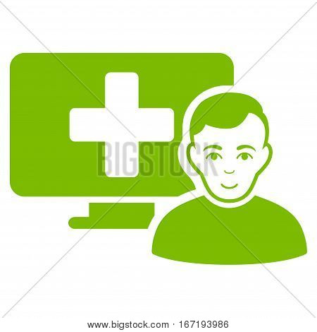 Online Medicine vector icon. Flat eco green symbol. Pictogram is isolated on a white background. Designed for web and software interfaces.