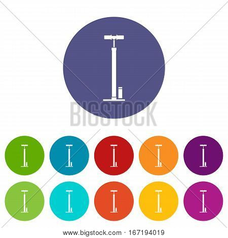 Bicycle pump set icons in different colors isolated on white background