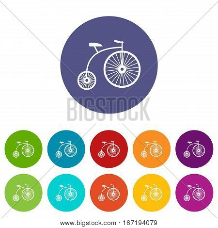 Penny-farthing set icons in different colors isolated on white background