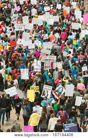 ATLANA, GA - JANUARY 2017:  Thousands of protesters express their displeasure with the presidential election as they participate in the Atlanta march for social justice and women the day after President Trump's inauguration in Atlanta, GA on January 21 20