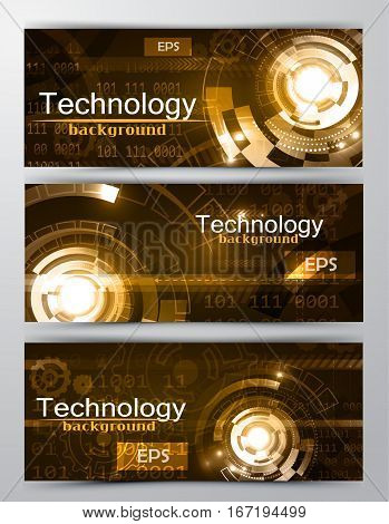 Set of modern scientific banners tecnology and computers