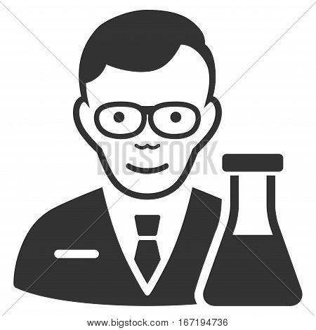 Chemist vector icon. Flat gray symbol. Pictogram is isolated on a white background. Designed for web and software interfaces.