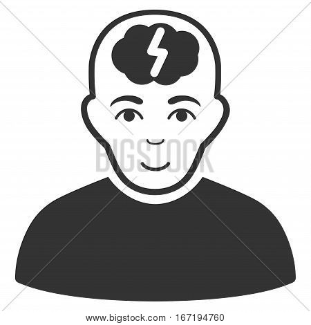 Clever Boy vector icon. Flat gray symbol. Pictogram is isolated on a white background. Designed for web and software interfaces.