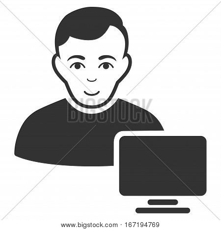 Computer Administrator vector icon. Flat gray symbol. Pictogram is isolated on a white background. Designed for web and software interfaces.
