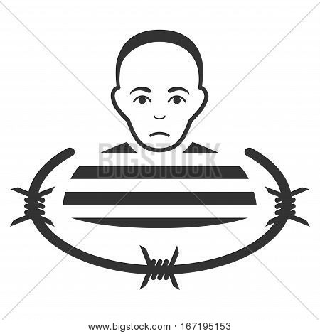 Isolated Prisoner vector icon. Flat gray symbol. Pictogram is isolated on a white background. Designed for web and software interfaces.