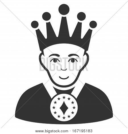 King vector icon. Flat gray symbol. Pictogram is isolated on a white background. Designed for web and software interfaces.