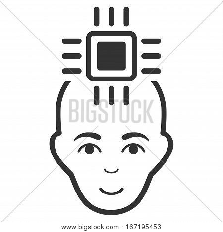 Neural Computer Interface vector icon. Flat gray symbol. Pictogram is isolated on a white background. Designed for web and software interfaces.