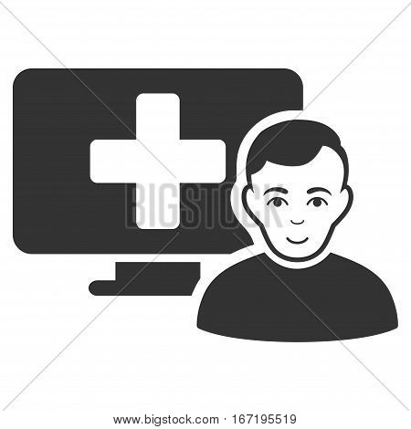 Online Medicine vector icon. Flat gray symbol. Pictogram is isolated on a white background. Designed for web and software interfaces.