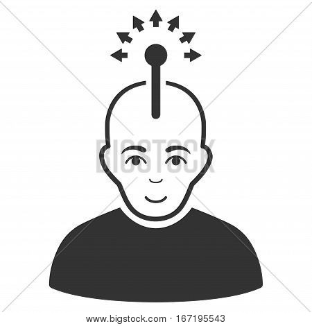 Optical Neural Interface vector icon. Flat gray symbol. Pictogram is isolated on a white background. Designed for web and software interfaces.