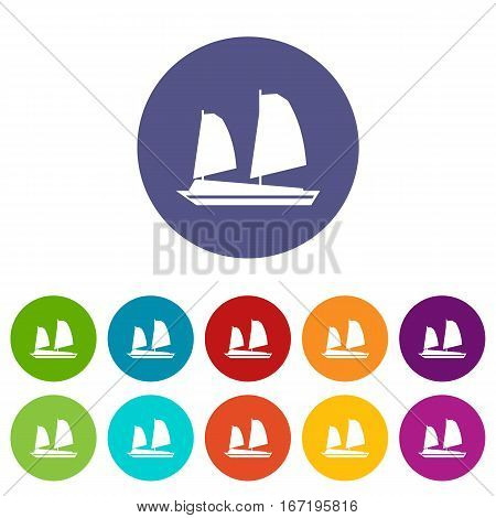 Vietnamese junk boat set icons in different colors isolated on white background