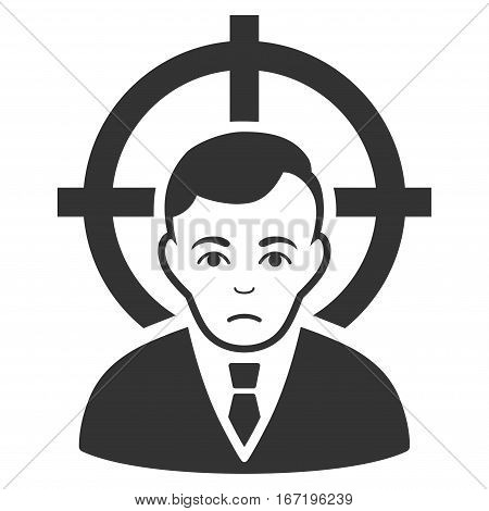 Victim Businessman vector icon. Flat gray symbol. Pictogram is isolated on a white background. Designed for web and software interfaces.