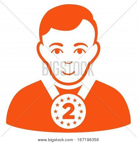 2nd Prizer Sportsman vector icon. Flat orange symbol. Pictogram is isolated on a white background. Designed for web and software interfaces.