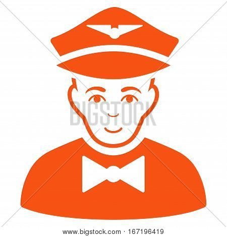 Airline Steward vector icon. Flat orange symbol. Pictogram is isolated on a white background. Designed for web and software interfaces.