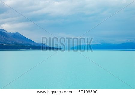 The aqua water of Lake Tekapo on the South Island of New Zealand