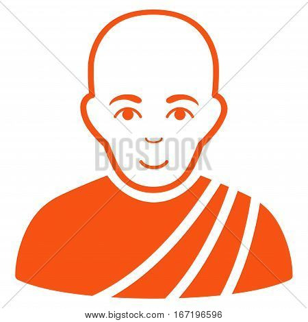 Buddhist Monk vector icon. Flat orange symbol. Pictogram is isolated on a white background. Designed for web and software interfaces.