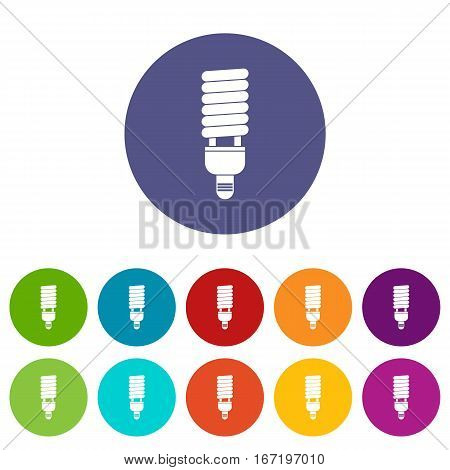 Fluorescent bulb set icons in different colors isolated on white background