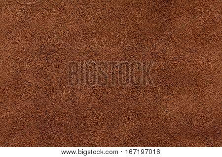 Brown suede texture background closeup long fiber