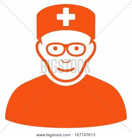 Medical Specialist vector icon. Flat orange symbol. Pictogram is isolated on a white background. Designed for web and software interfaces.