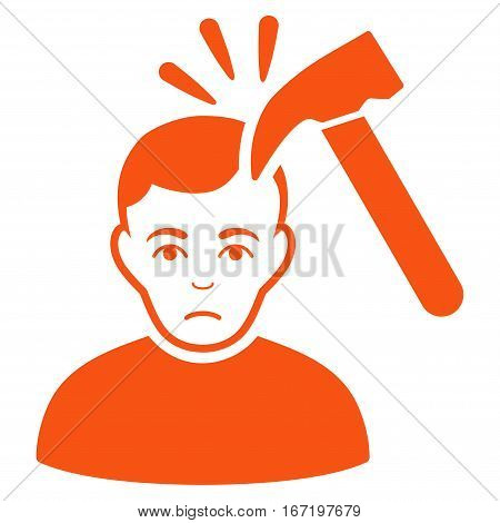 Murder With Hammer vector icon. Flat orange symbol. Pictogram is isolated on a white background. Designed for web and software interfaces.