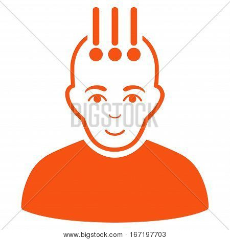 Neural Interface vector icon. Flat orange symbol. Pictogram is isolated on a white background. Designed for web and software interfaces.